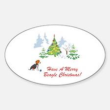 Christmas Beagle Oval Decal
