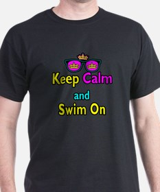 Crown Sunglasses Keep Calm And Swim On T-Shirt