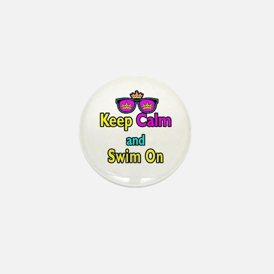 Crown Sunglasses Keep Calm And Swim On Mini Button