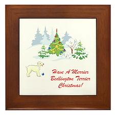 Bedlington Terrier Christmas Framed Tile