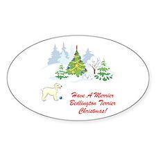Bedlington Terrier Christmas Oval Decal
