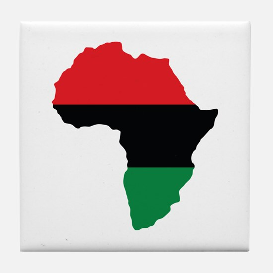 Red, Black and Green Africa Flag Tile Coaster