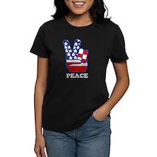Vintage USA Flag Peace Hand T-Shirt