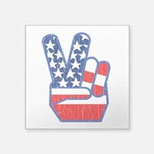 70s USA Flag Peace Hand Sticker