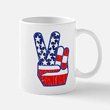 70s USA Flag Peace Hand Mug