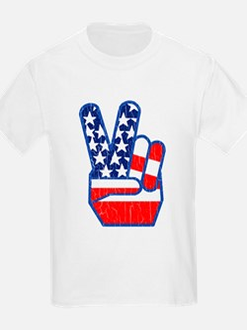 70s USA Flag Peace Hand T-Shirt