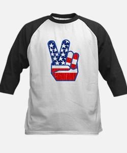 70s USA Flag Peace Hand Baseball Jersey