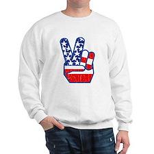 70s USA Flag Peace Hand Sweater