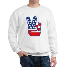 70s USA Flag Peace Hand Sweatshirt