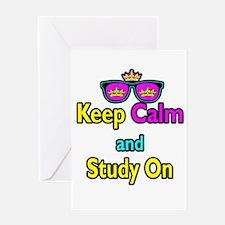 Crown Sunglasses Keep Calm And Study On Greeting C