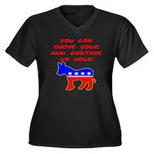 Shove Your Gun Control Women's Plus Size V-Neck Da