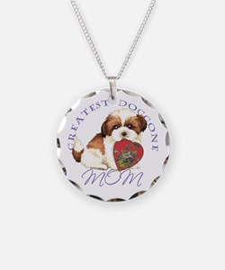Shih Tzu Mom Necklace Circle Charm