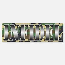 INFIDEL Woodland Camo Bumper Bumper Sticker