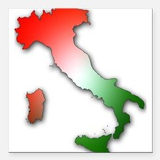 """Italy With Tricolor Square Car Magnet 3"""" x 3"""""""
