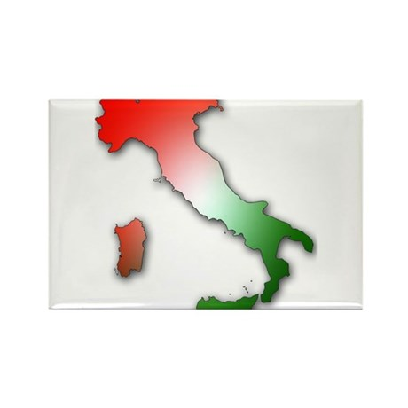 Italy With Tricolor Rectangle Magnet