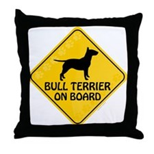 Bull Terrier On Board Throw Pillow