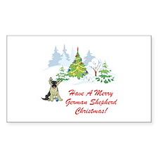 German Shepherd Christmas Rectangle Decal