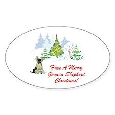 German Shepherd Christmas Oval Decal