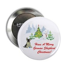 German Shepherd Christmas Button