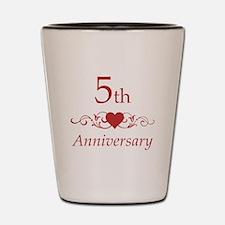 5th Wedding Anniversary Shot Glass