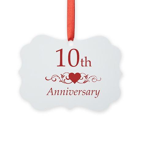 10th Wedding Anniversary Picture Ornament