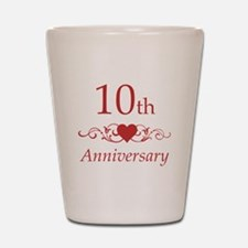 10th Wedding Anniversary Shot Glass