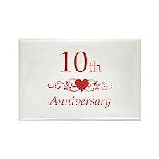 10th Wedding Anniversary Rectangle Magnet