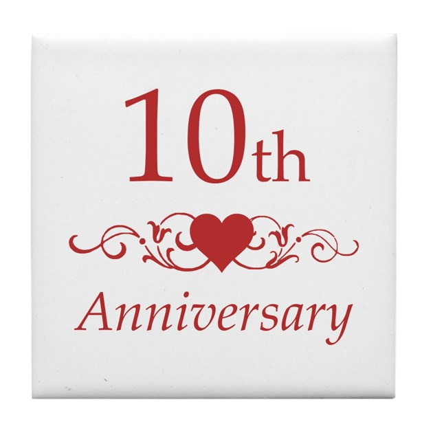 10th Wedding Anniversary Gift For Sister : 10th Wedding Anniversary Tile Coaster By Pixelstreetann .