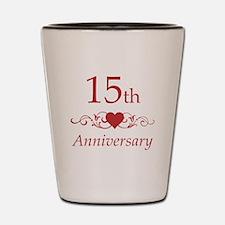 15th Wedding Anniversary Shot Glass