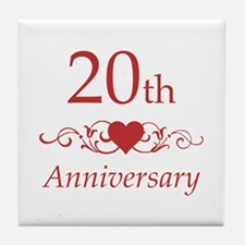 20th Wedding Anniversary Tile Coaster