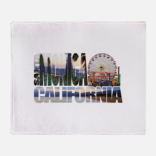Santa Monica Logo pier beach flora Throw Blanket