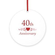 40th Wedding Anniversary Ornament (Round)