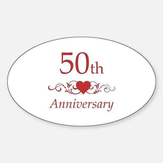 50th Wedding Anniversary Sticker (Oval)