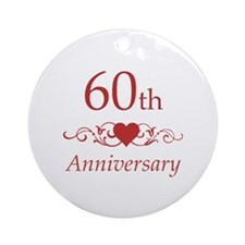 60th Wedding Anniversary Ornament (Round)