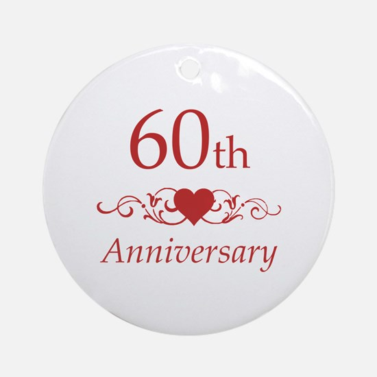 60th Wedding Anniversary Ornament (Round)