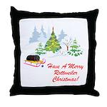 Rottweiler Christmas Throw Pillow