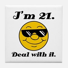 21st Birthday Deal With It Tile Coaster