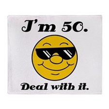 50th Birthday Deal With It Throw Blanket