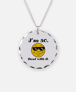 50th Birthday Deal With It Necklace Circle Charm