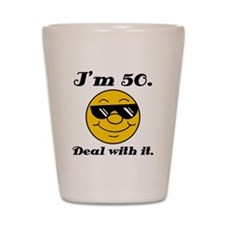 50th Birthday Deal With It Shot Glass