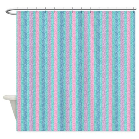 Teal And Pink Stripes Shower Curtain By Cheriverymery