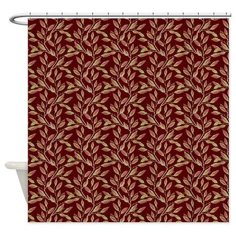 Burgundy Leaf Shower Curtain By Cheriverymery