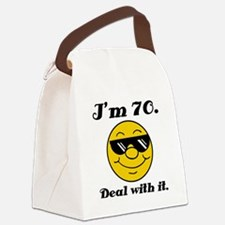 70th Birthday Deal With It Canvas Lunch Bag