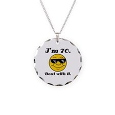 70th Birthday Deal With It Necklace Circle Charm