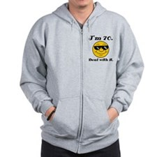 70th Birthday Deal With It Zip Hoodie