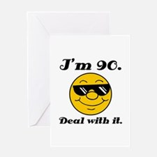 90th Birthday Deal With It Greeting Card