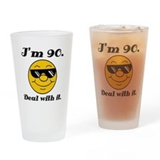90th Birthday Deal With It Drinking Glass