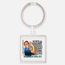 Rosie Keep Calm Thyroid Cancer Square Keychain