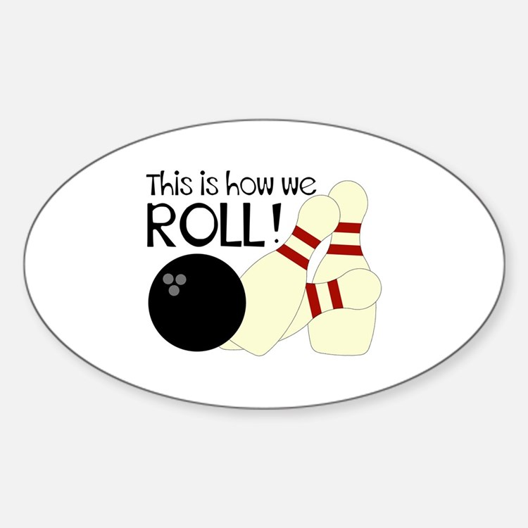 Cute Bowling birthday party Sticker (Oval)