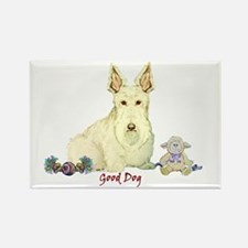 """Good Dog"" Wheaten Scottie Rectangle Magnet"